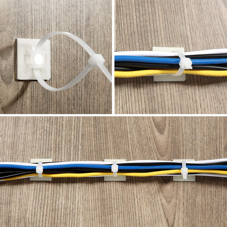 150 St/ück Kabelbinder-Klebebefestigungen Selbstklebende Kabelbinder-Grundhalter mit Mehrzweck-Clip-Kabelbinder 150 mm lang Schwarz 2 cm breit