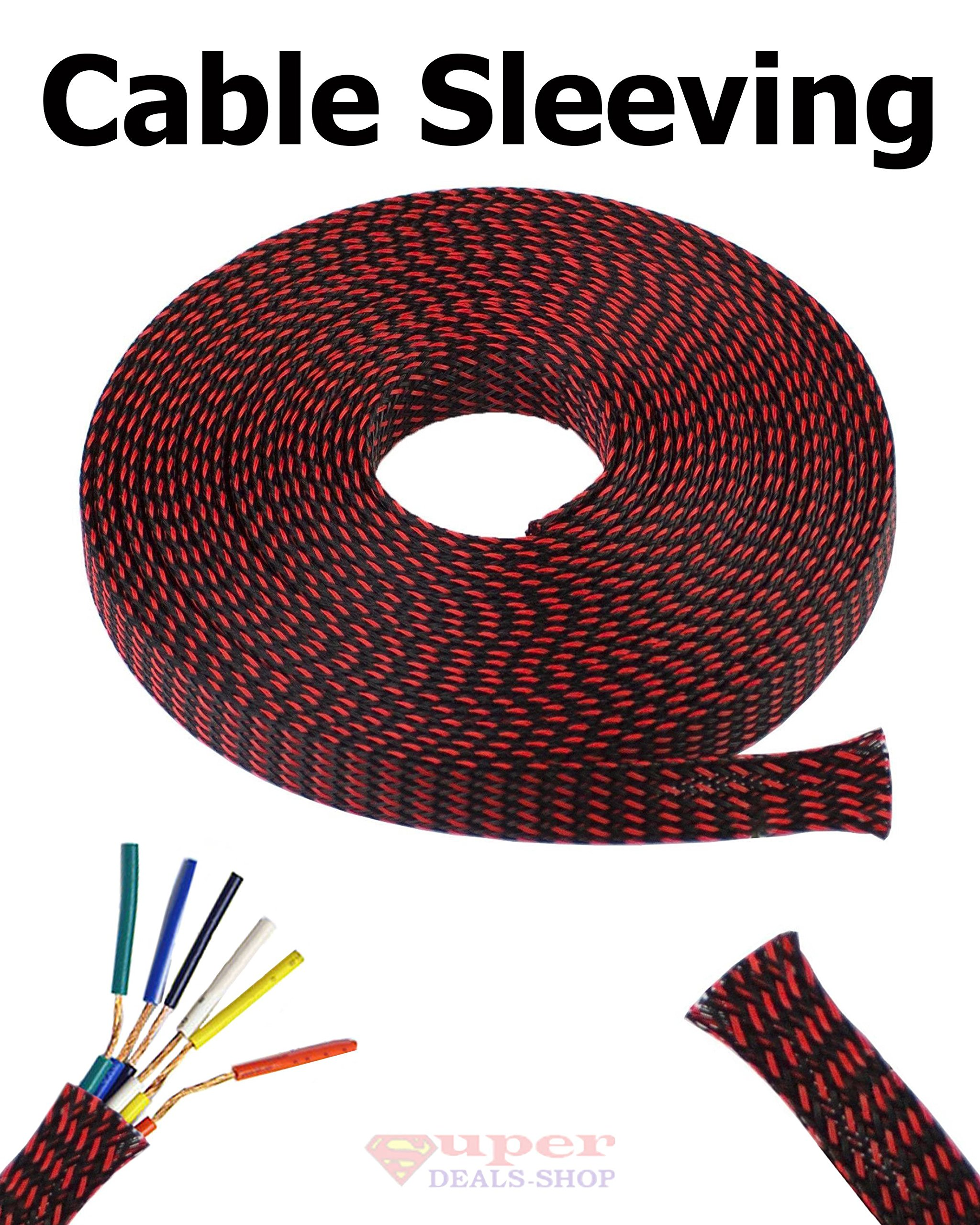 3/8'' Expandable Wire Cable Sleeving Expandable Braided Sleeving Braided Cable Sleeve Expandable Braided Cord Sleeve Cord Managment Super-Deals-Shop (50 FT, Black and Red)