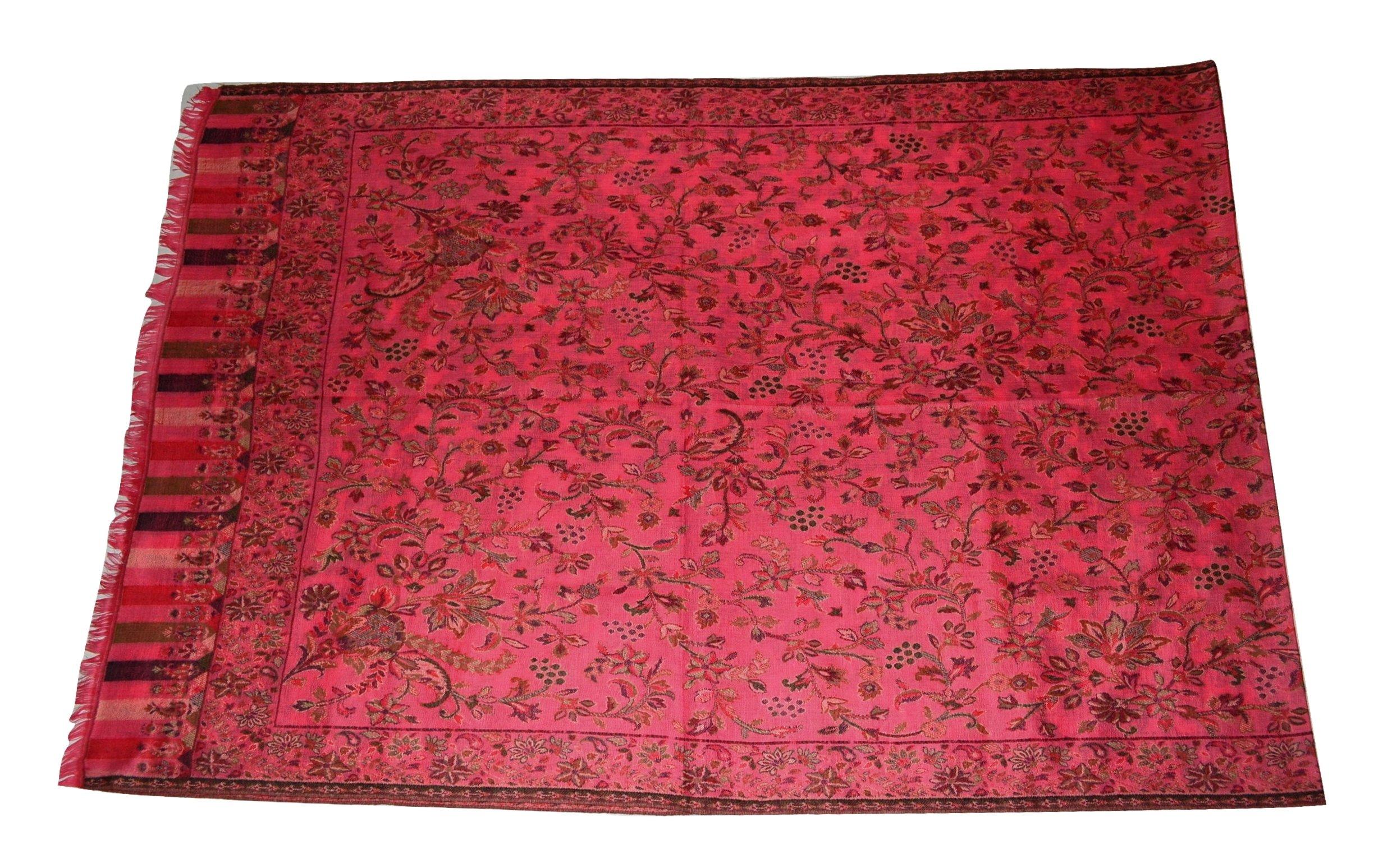 Handmade Pashmina & Fine Wool Fabric Multicolor Floral Paisley KANI Scarf/Stole.X1838