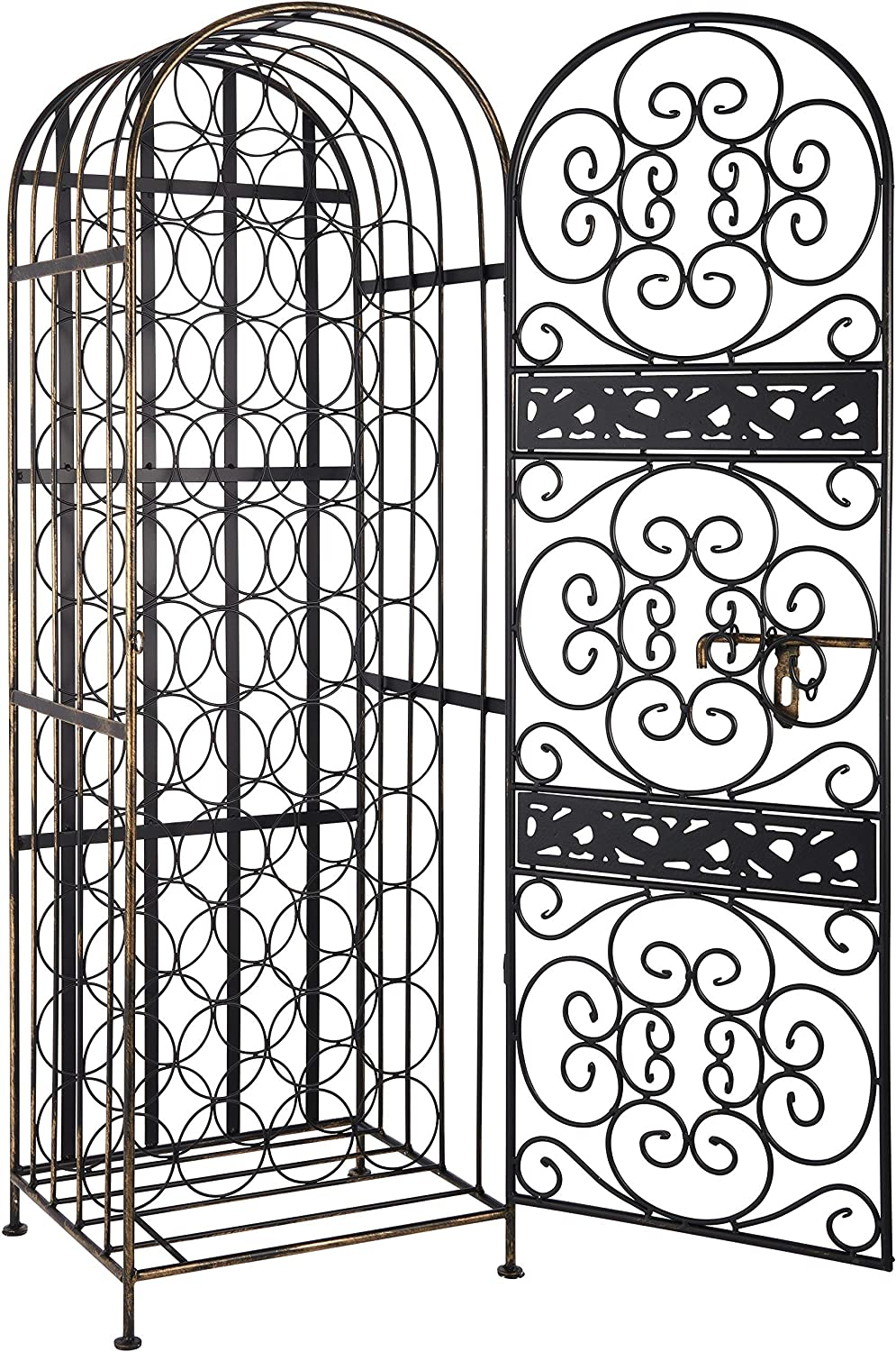 Wine Enthusiast Renaissance Wrought Iron Wine Jail - Large Wine Rack, Holds 45 Bottles