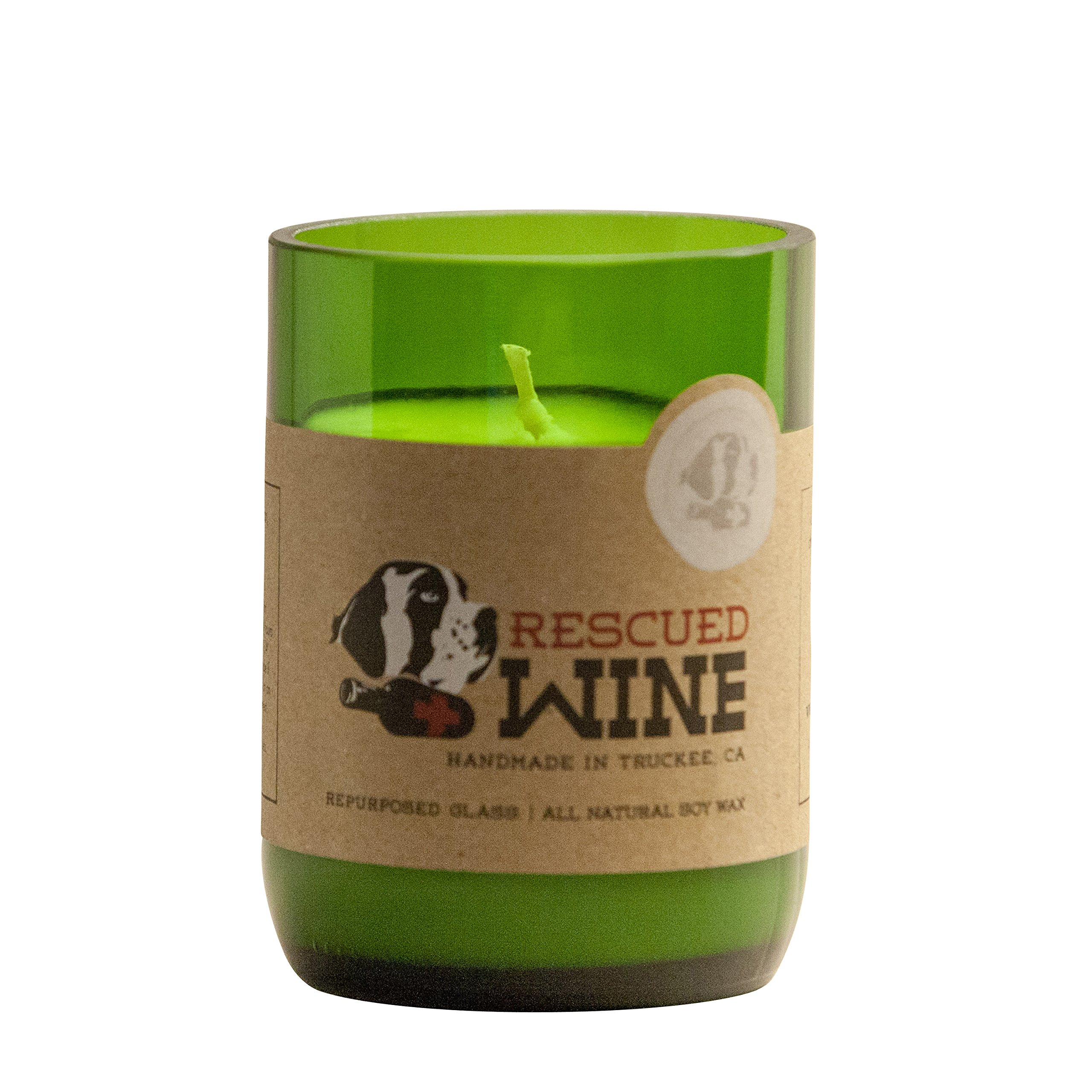 Rescued Wine Recycled Wine Bottle Soy Wax Candle, Chardonnay