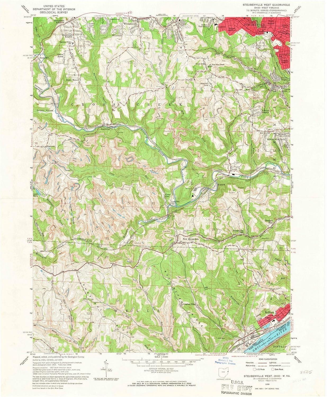 Brilliant Ohio Map.Amazon Com Ohio Maps 1958 Steubenville Oh Usgs Historical