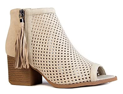 fffaccbcb8f16 J. Adams Maya Perforated Booties - Peep Toe Chunky Block Heel Tassel Ankle  Boots