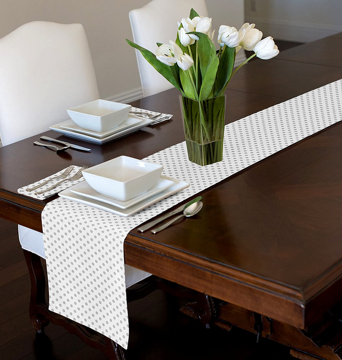 A LuxeHome White and Grey Modern Contemporary Polka Dot Table Runner Mat Topper 12' x 72'