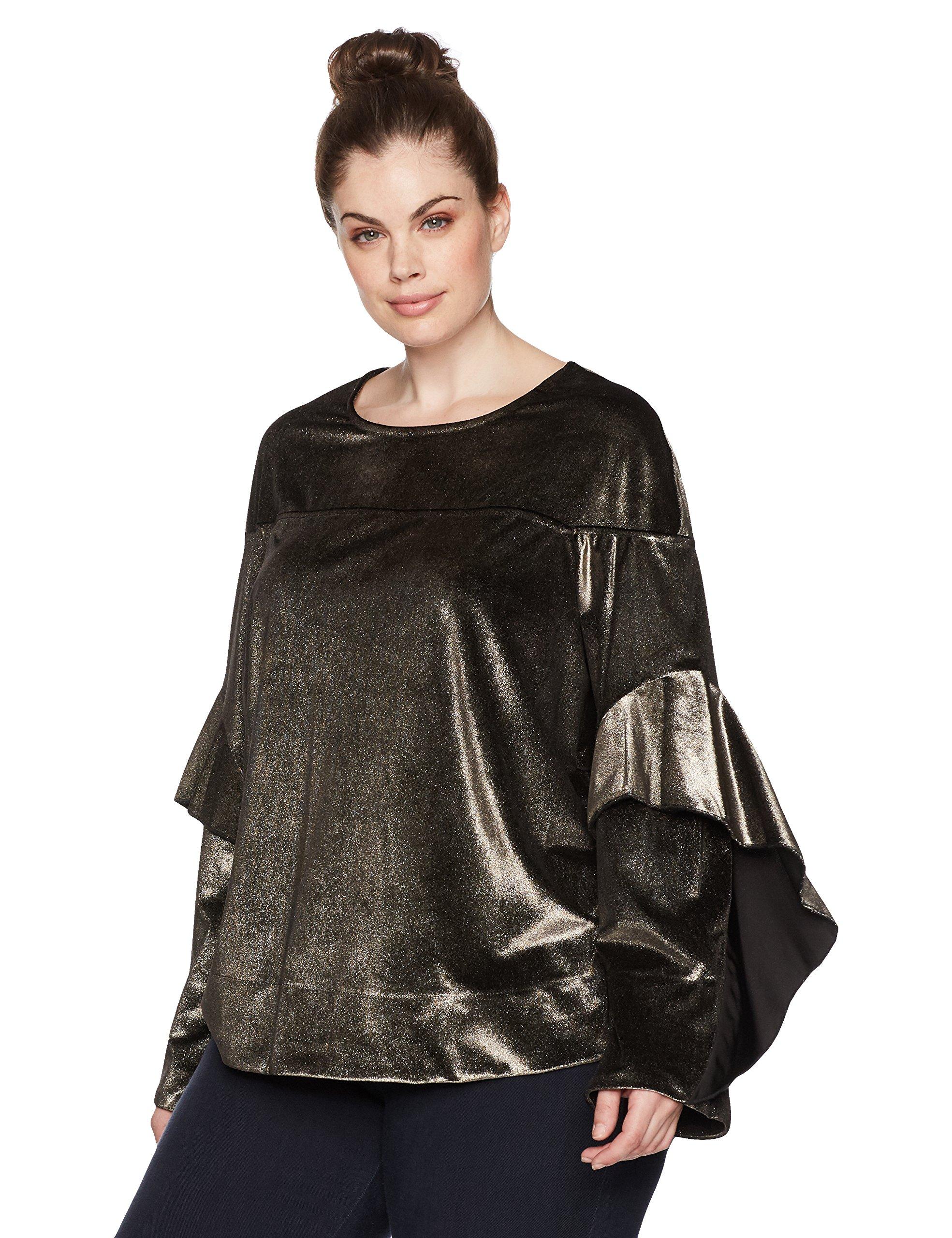 RACHEL Rachel Roy Women's Plus Size Ruffle Sleeve Sweatshirt, Gold, 3X