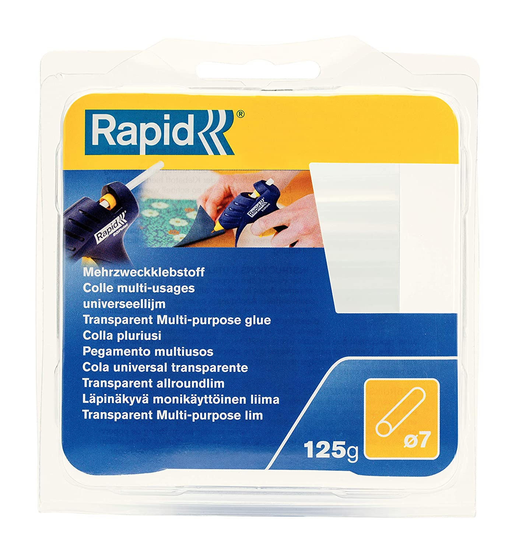 Rapid Multi-Purpose Transparent Hot Glue Sticks, Diameter: 7 mm, Length: 65 mm, 125 g, 40107350