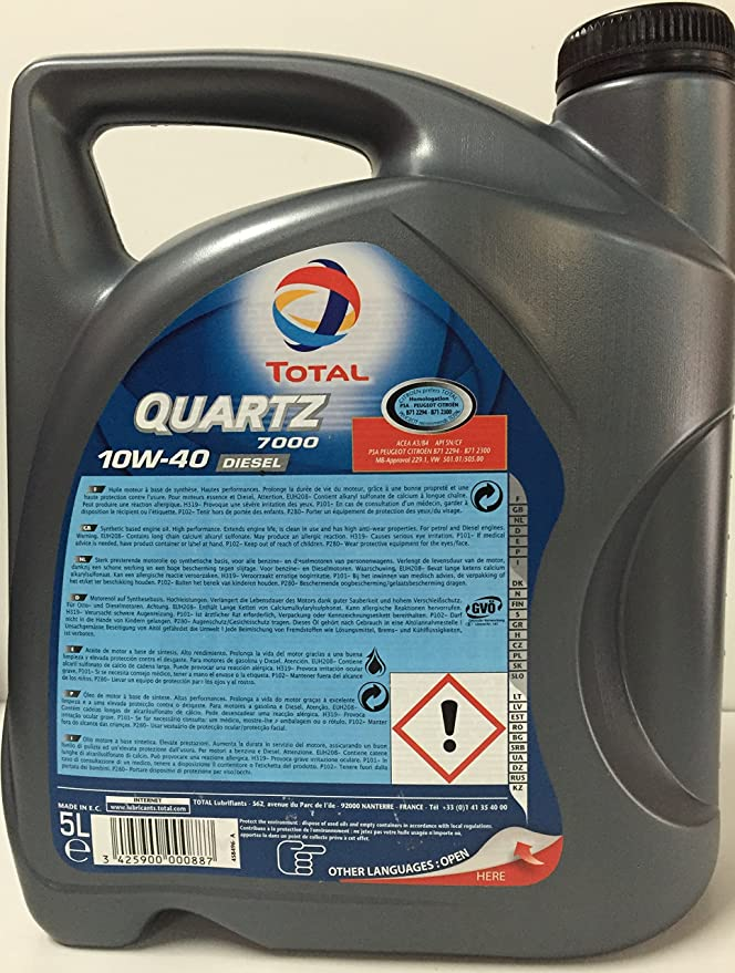 Total Diésel Quartz 7000, Aceite de Motor 10 W-40, 5 L.: Amazon.es: Coche y moto
