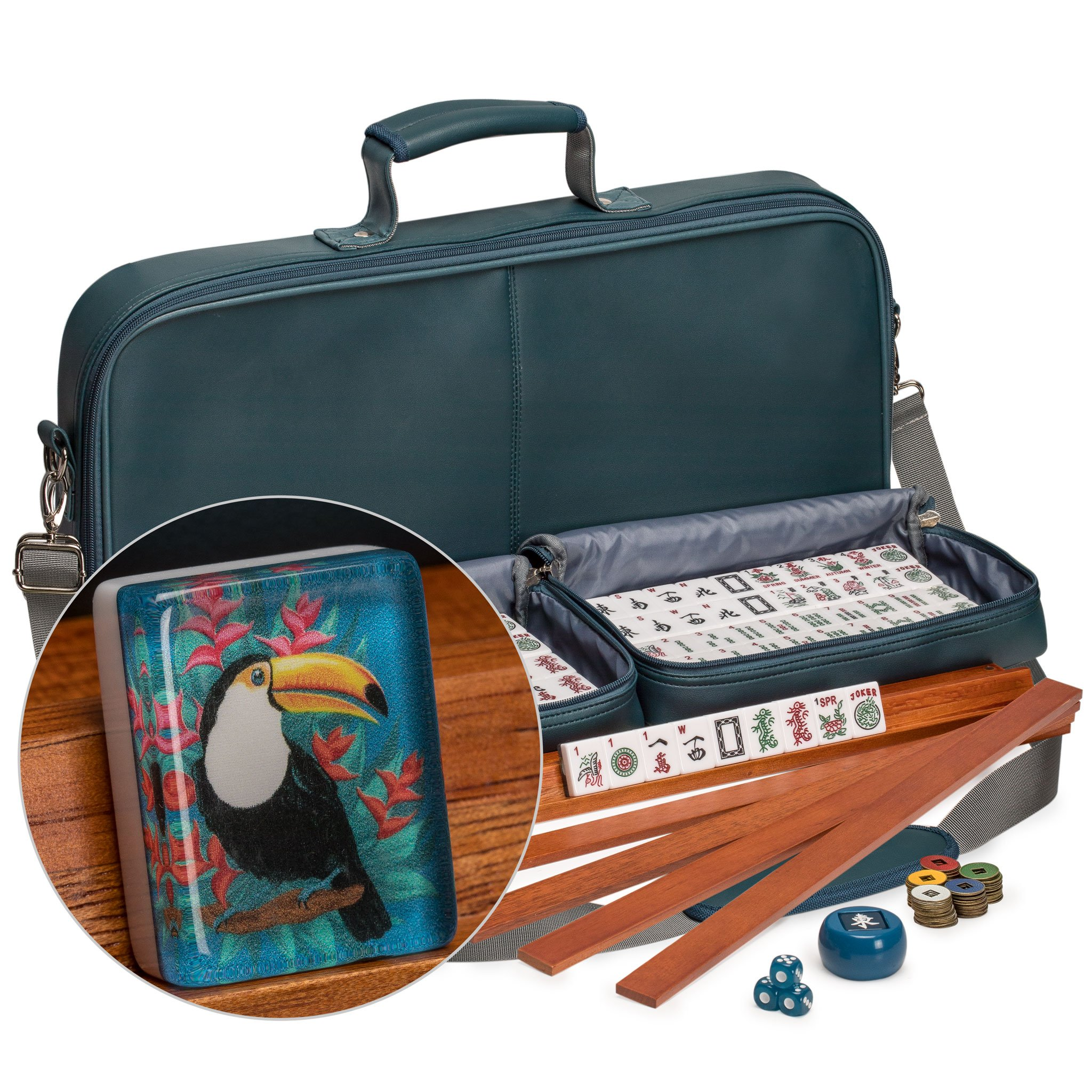 Yellow Mountain Imports American Mahjong Set with 166 Tiles Adorned with Toucan Motif, Leatherette Case, Racks with Pushers, Betting Coins, Dice, and Wind Indicator, ''Toucan''