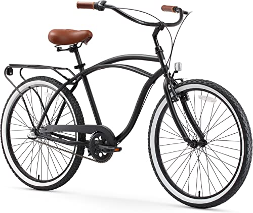 sixthreezero Around The Block Men s Beach Cruiser Bicycle OR eBike 250W and 500W Electric Bike, 24-Inch and 26-Inch