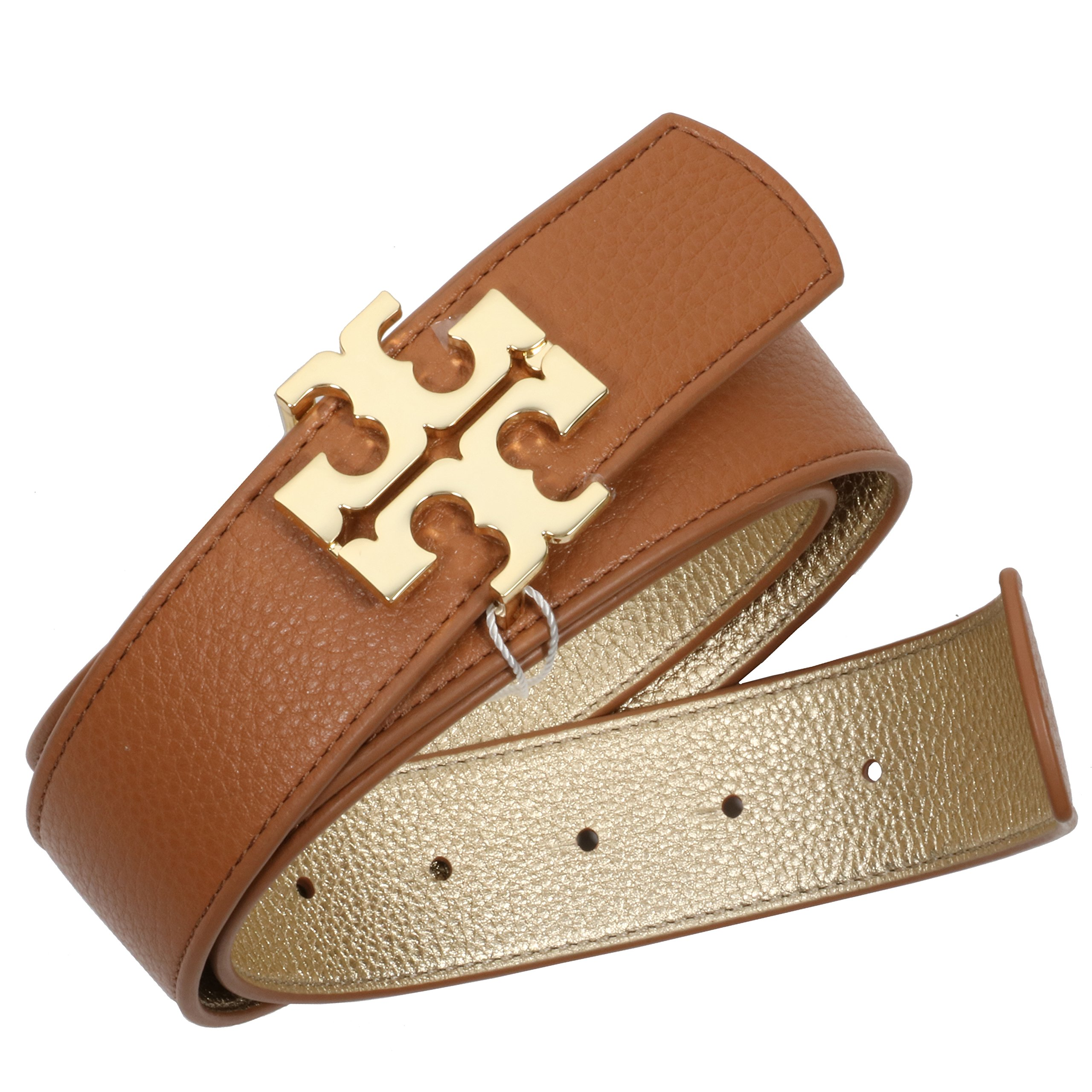 Tory Burch Reversible Belt 1 1/2'' Leather TB Logo Bark Gold (S) by Tory Burch
