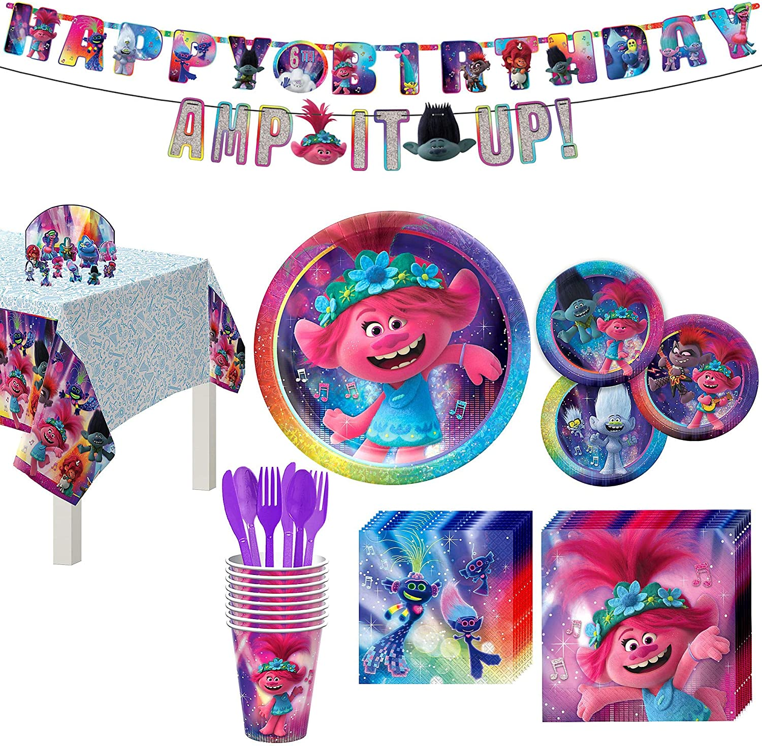 Trolls World Tour Party Supplies 6th Birthday 8 Guest Table Decorations and P...