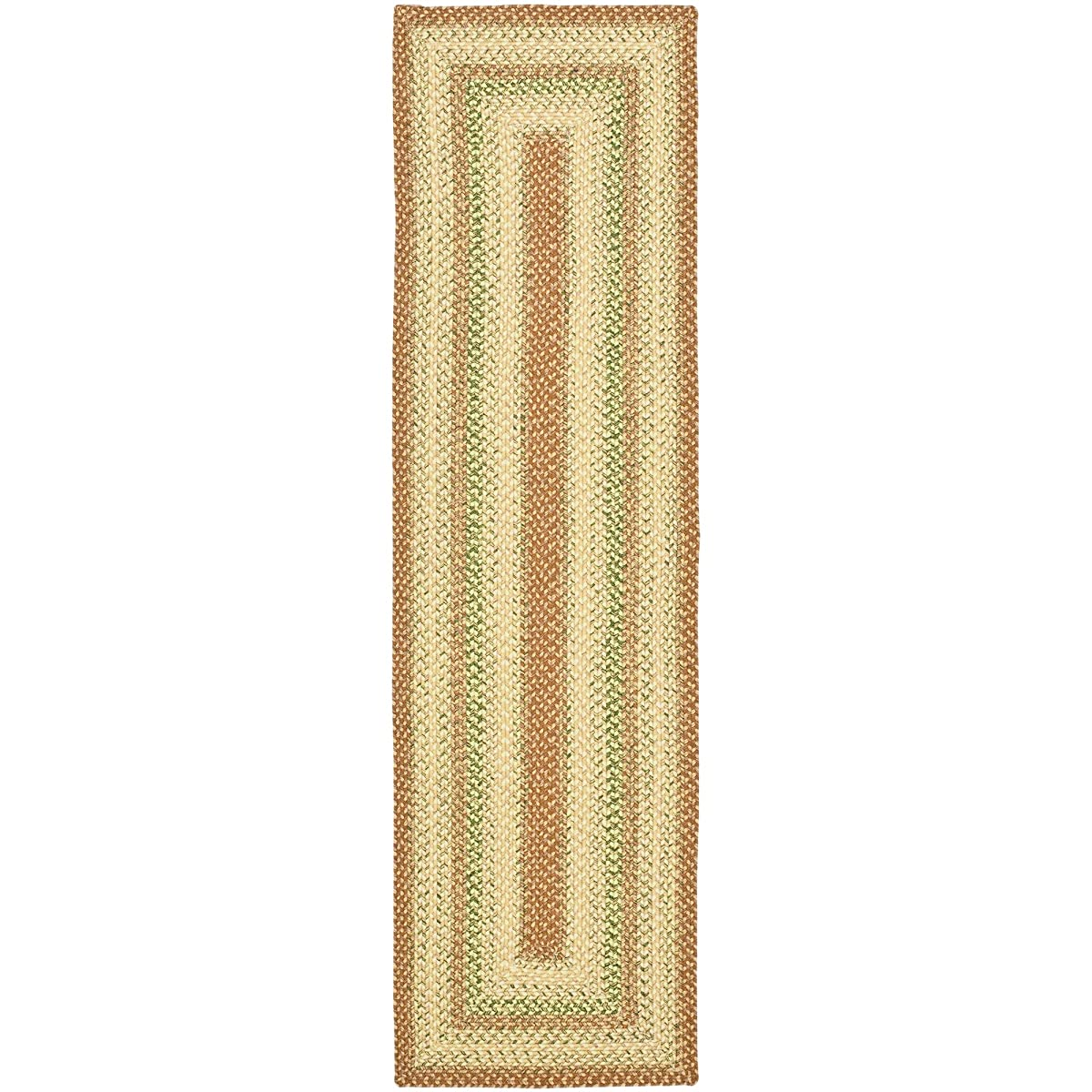 """Safavieh Braided Collection BRD303A Hand Woven Rust and Multi Runner (23"""" x 8)"""