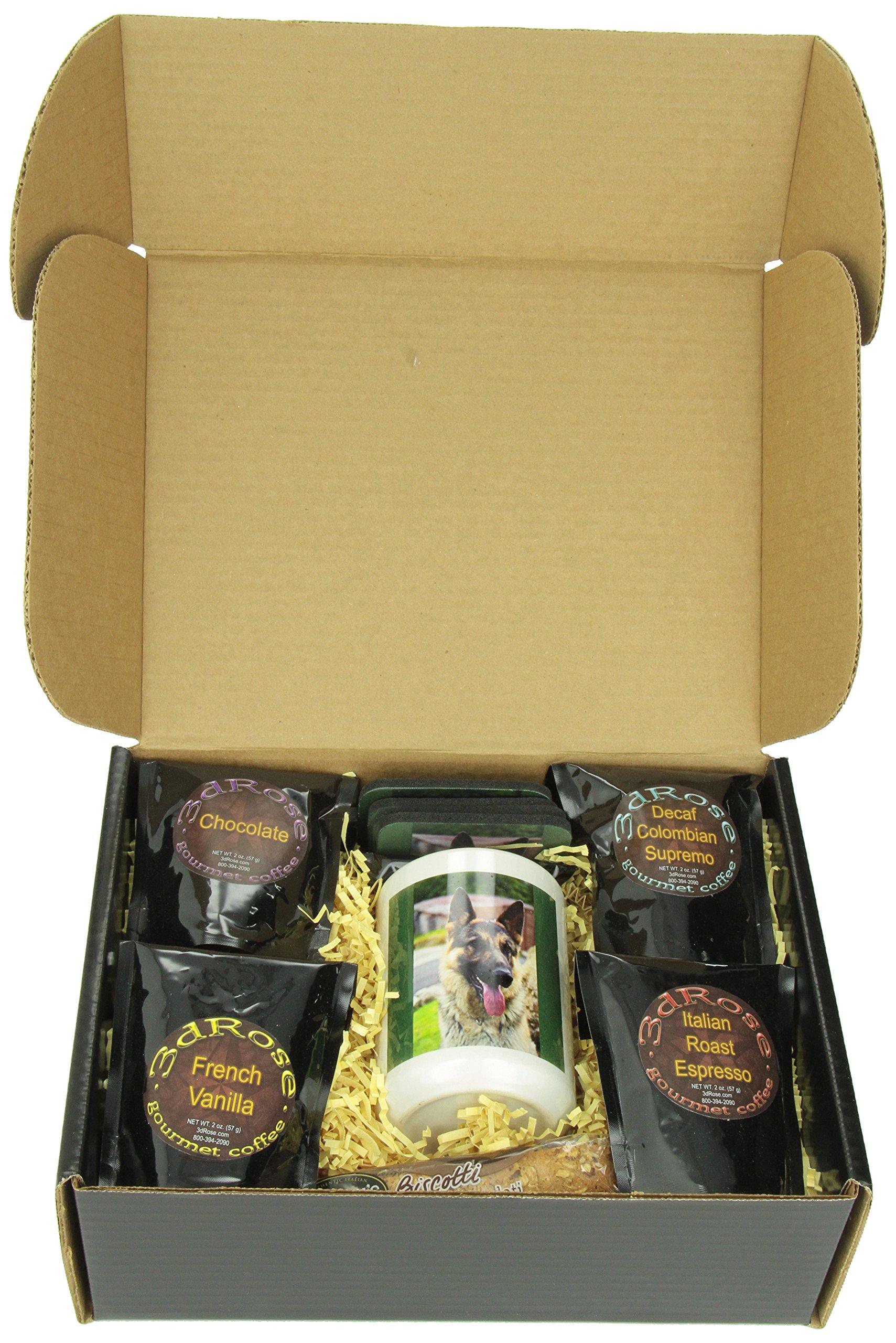 3dRose German Shepherd Portrait Coffee Gift Basket, Multi