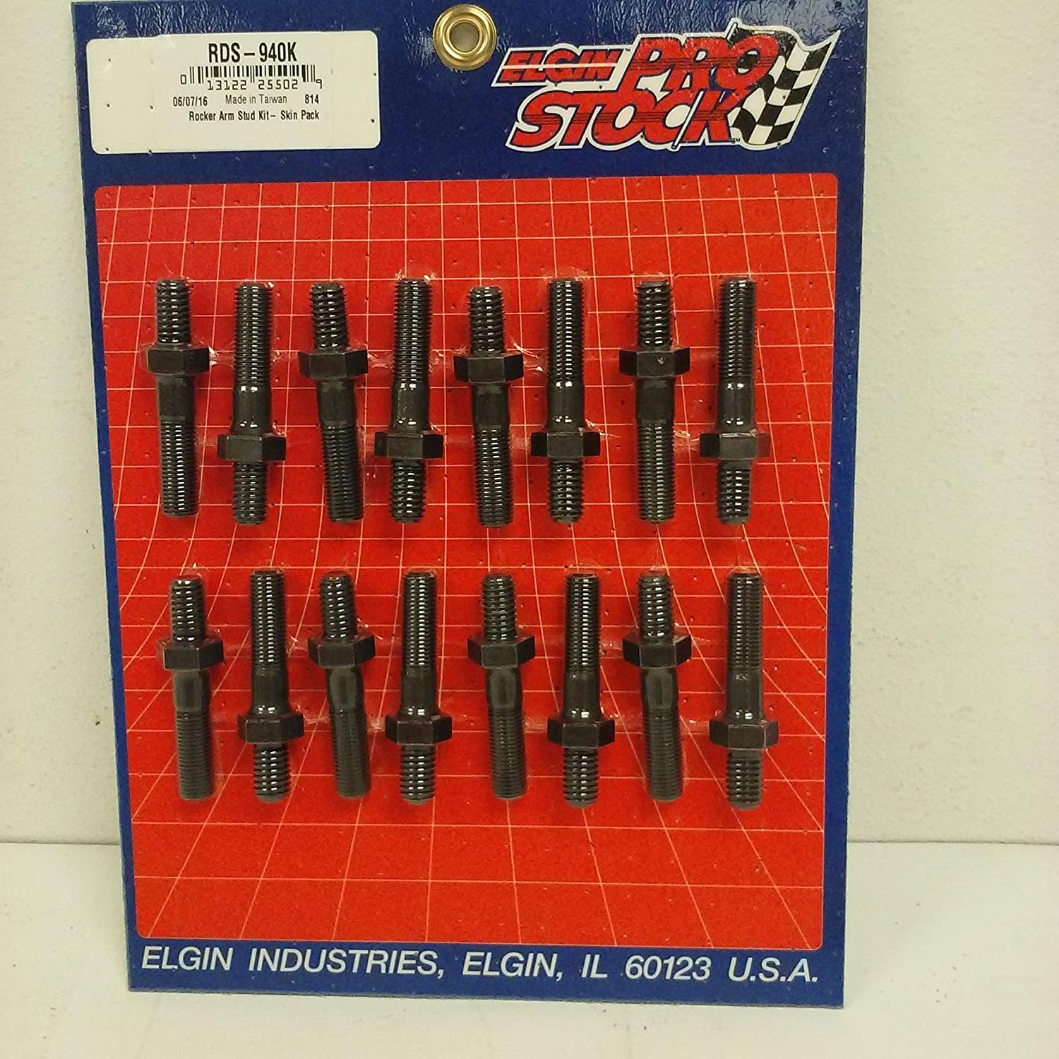 Elgin Big Block Chevy & Ford Rocker Arm Studs 7/16-20 x 7/16-14 x 2.6700 Elgin Industries