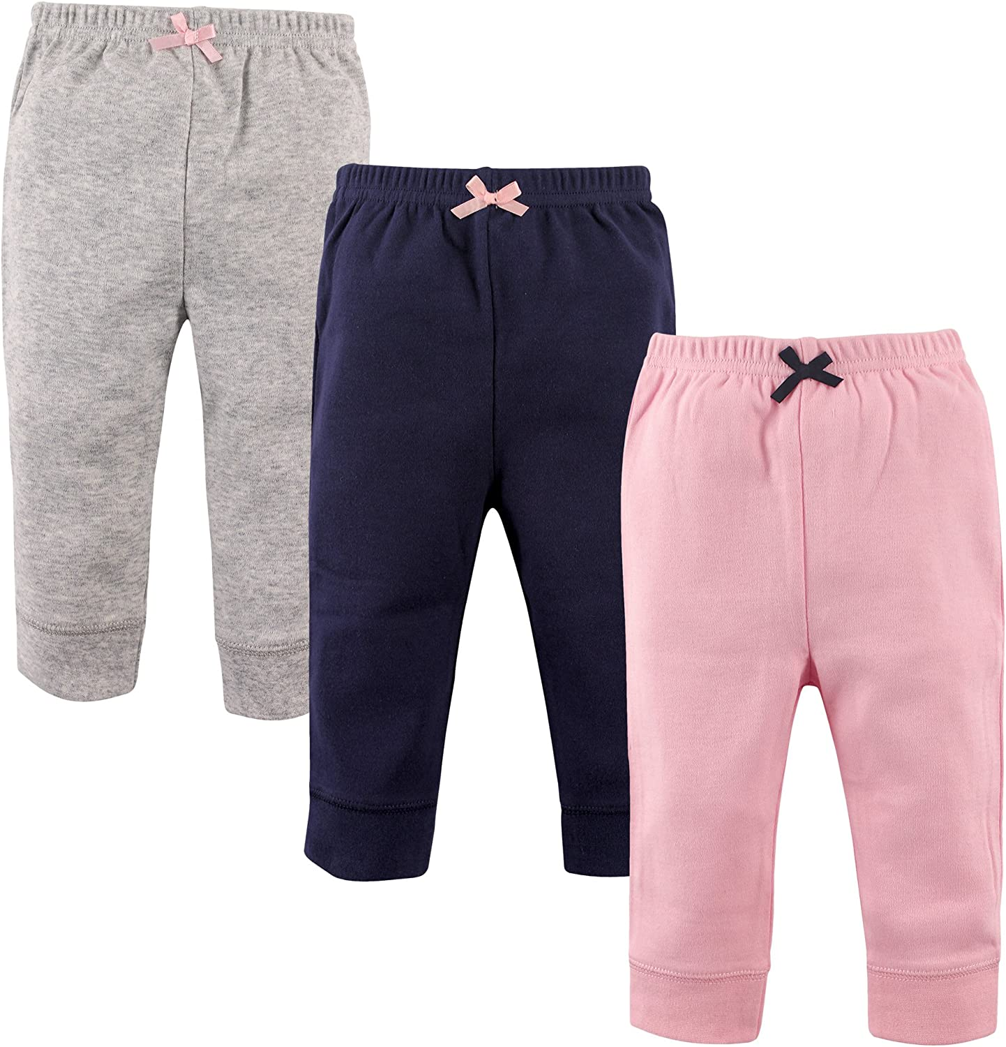 3-Pack Pink and Navy Luvable Friends Girl Baby Leggings