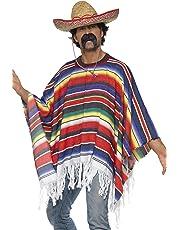 Poncho messicano multicolore con frange costume adulto