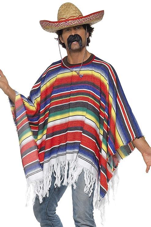 Poncho messicano multicolore con frange costume adulto  Smiffys ... 77ed70aa598b