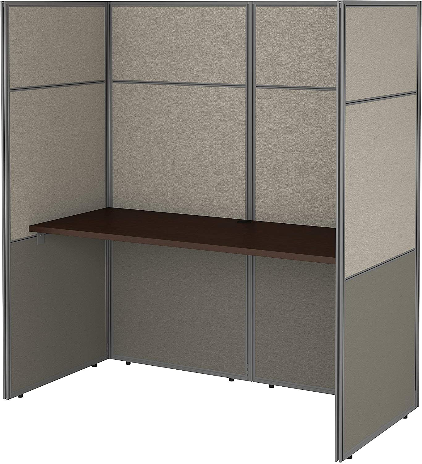 Bush Business Furniture Easy Office Cubicle Desk Workstation with 66H Closed Panels, 60Wx60H, Mocha Cherry