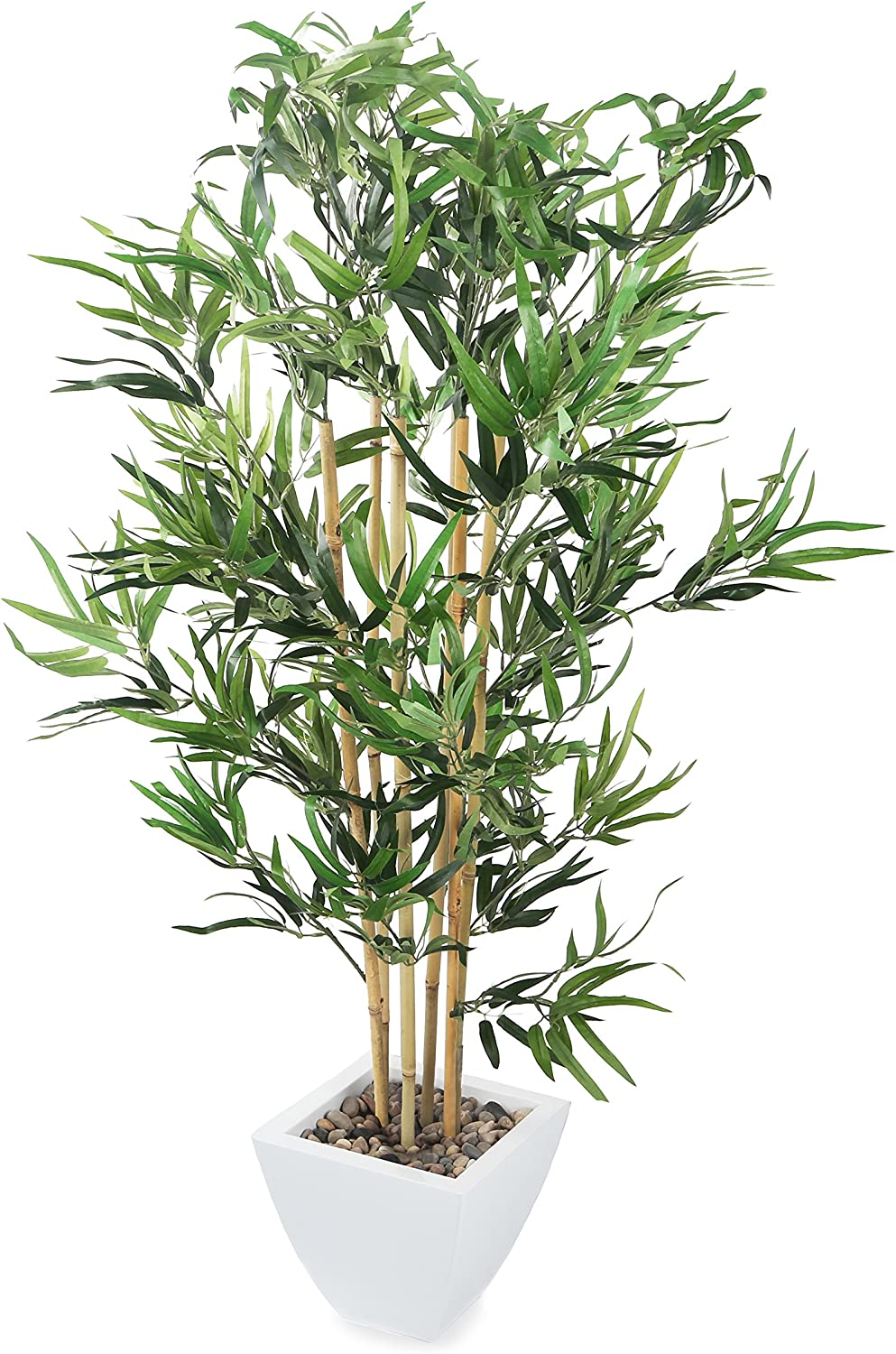 Closer2Nature Artificial 2ft 3 Golden Bamboo Tree in a Decorative White Pot