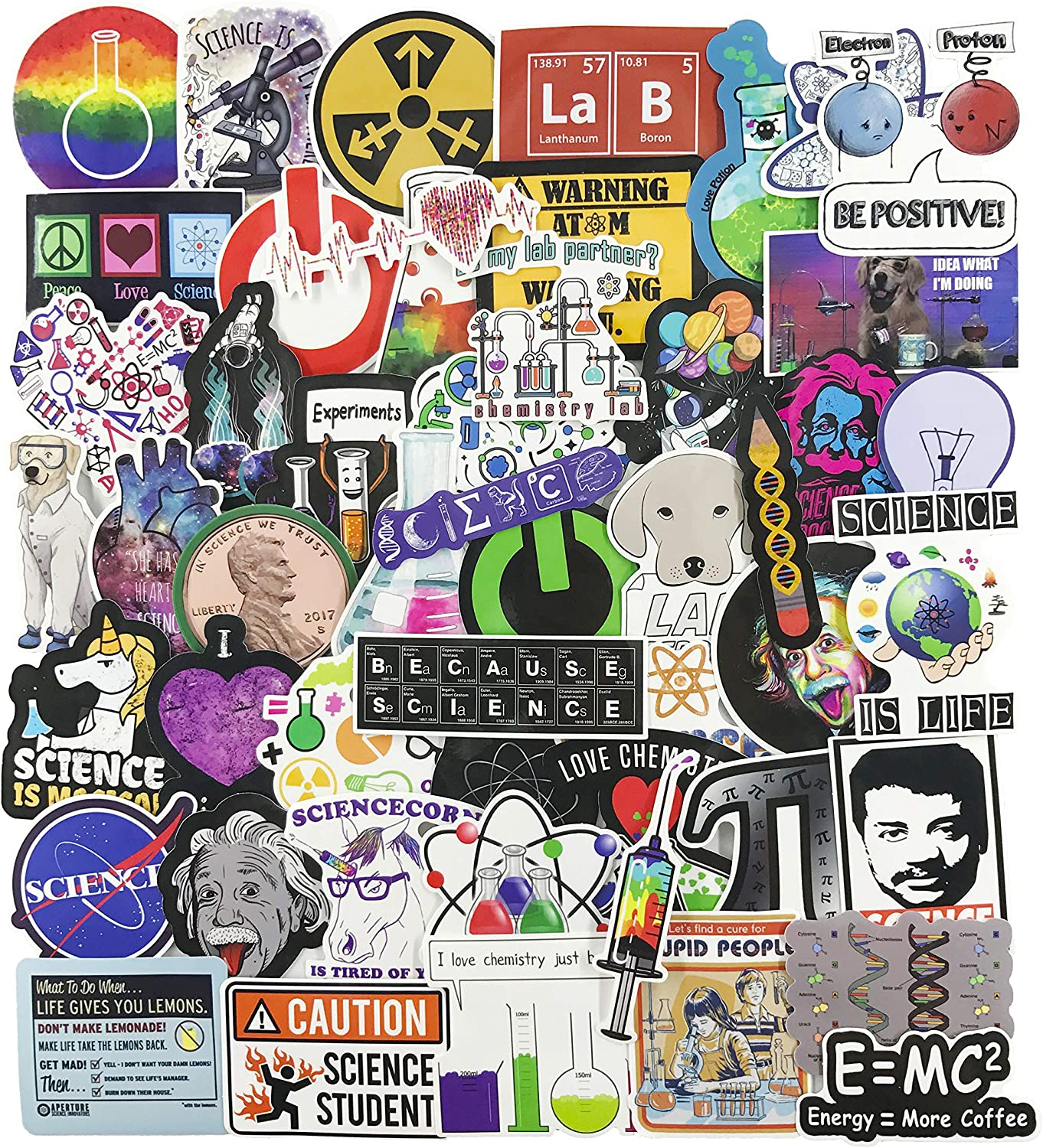 Science Laptop Stickers for Kids, Experiments Decal for Teen, 50pcs Pack Vinyl Skateboard Water Bottle Phone Computer Travel Case Guitar Snowboard Luggage Car Bike Graffiti Decal