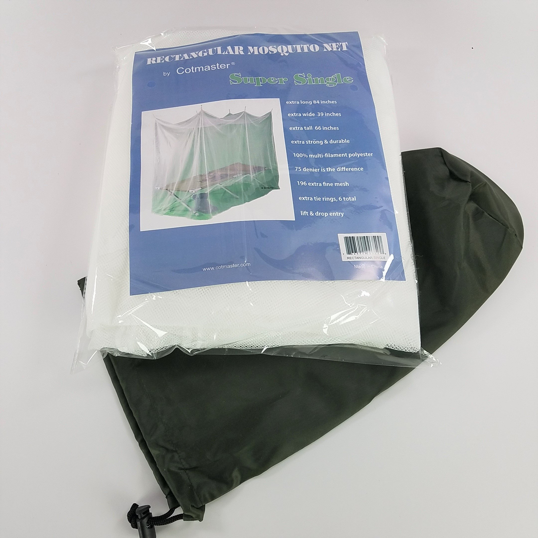 Cotmaster SINGLE WHITE Rectangular Mosquito Net with Bag (39''x84''x66'')