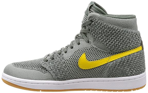 online store f1ba4 bab34 Amazon.com   Nike Jordan Men s Air 1 Retro HI Flyknit, Clay Green White Hyper  Cobalt, 11 M US   Basketball
