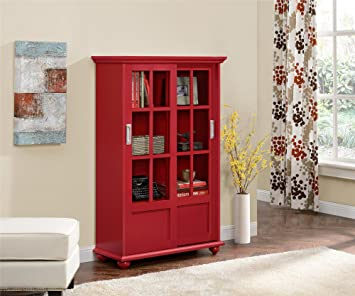 Ameriwood Home Aaron Lane Bookcase With Sliding Glass Doors Red