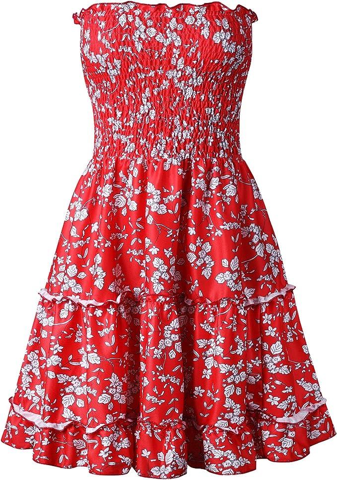 Valin Damska Rückenfrei Asymmetrisch Kleid Mini A-Linie Kleid Ohne Arm Trägerlos Kleid,V0865: Odzież
