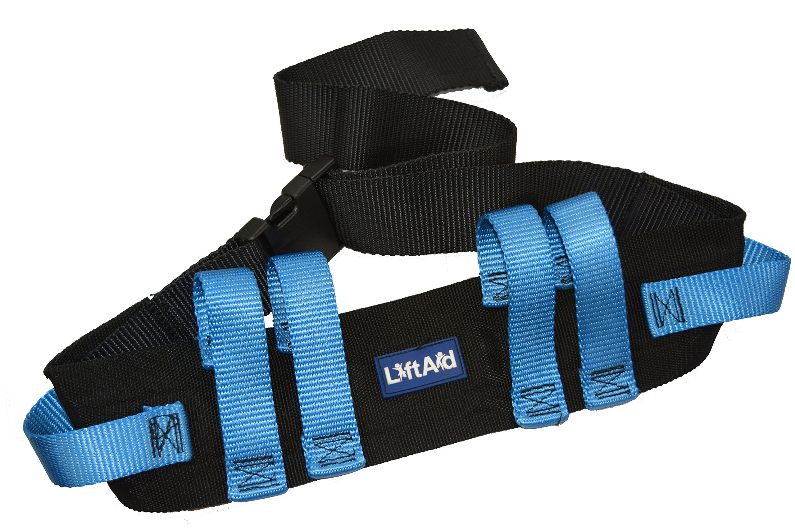 LiftAid Transfer and Walking Gait Belt with 6 Hand Grips and Quick-Release Buckle (Blue)