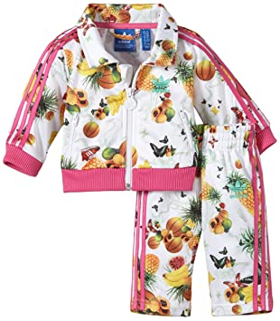 6ff67912fa9a adidas Children s Tracksuit with Flower Design Multi-Coloured White Pink  Size 6-