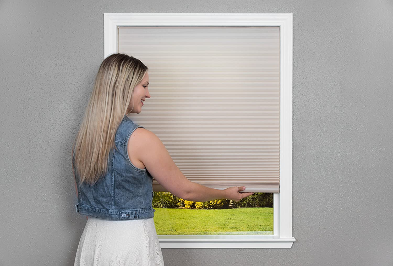 Easy Lift Trim-at-Home Cordless Cellular Light Filtering Fabric Shade Natural 30 in x 64 in, Fits windows 19-30