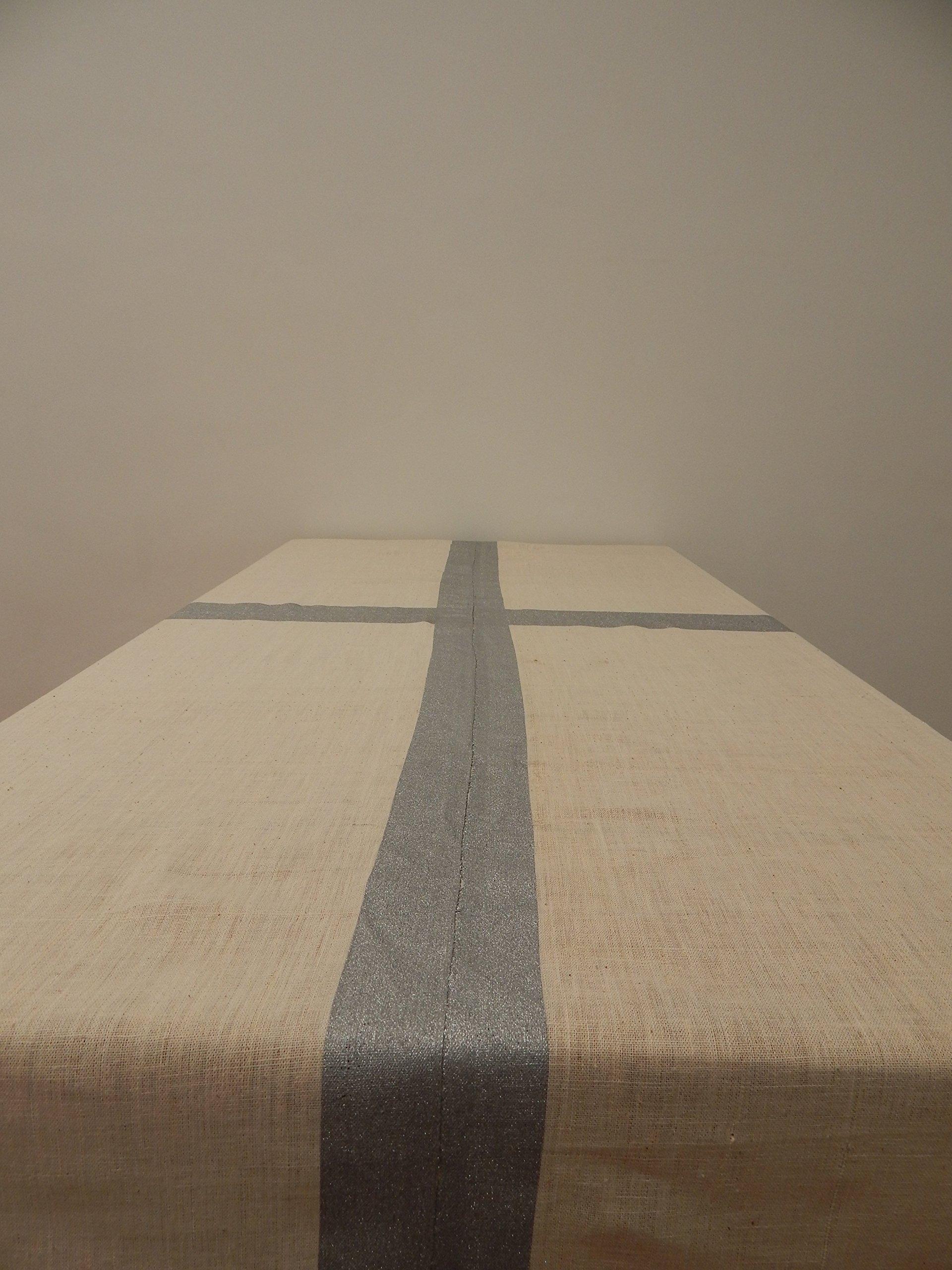 Gitika Goyal Home Cotton Khadi Silver Screen Printed Tablecloth with Border Design, Cream, 72'' x 72''
