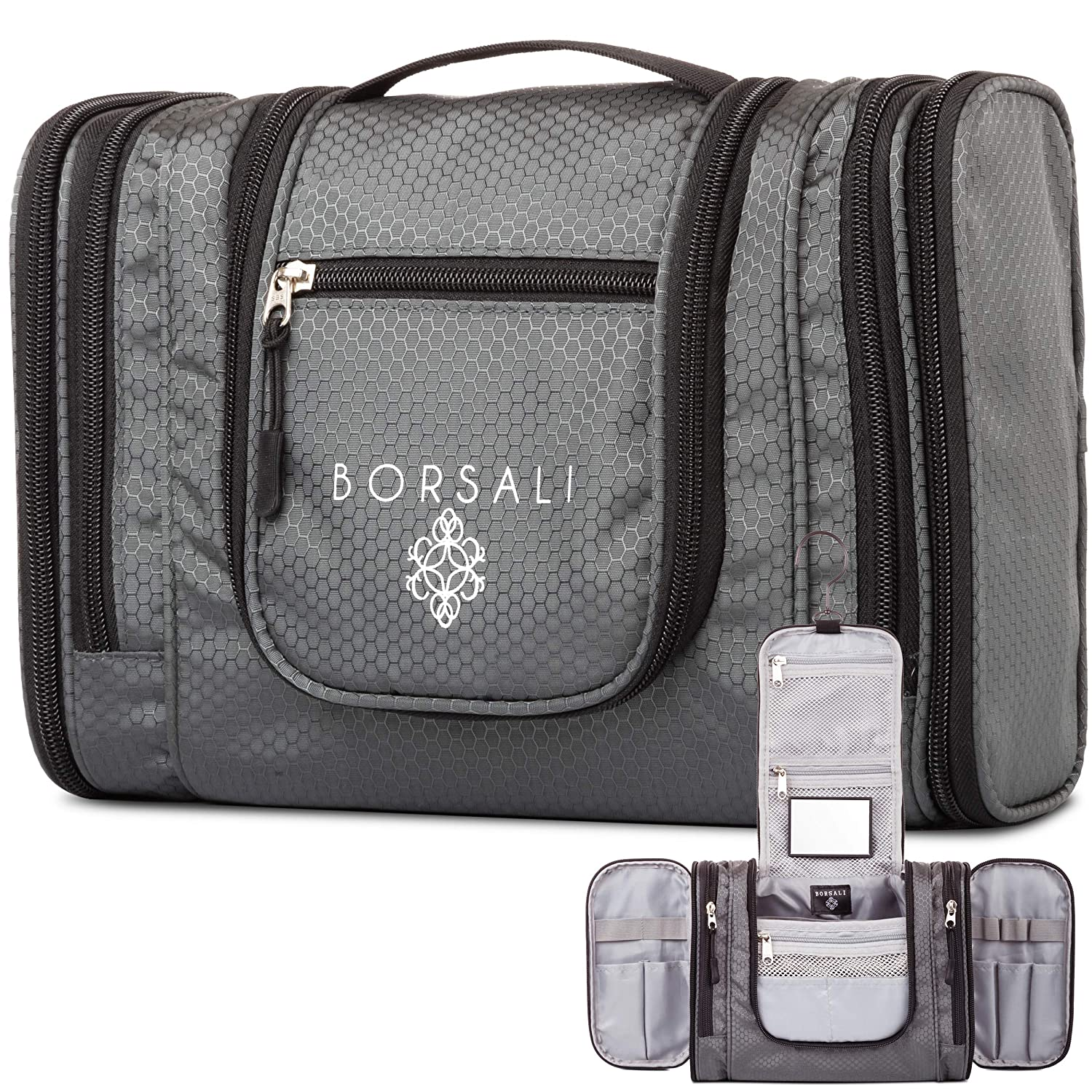 Hanging Toiletry Bag for Women Men by Borsali – Makeup and Toiletries Travel Organizer- Medium Bag – Compact Yet Roomy -Travel Confidently with Mirror – Large Back Pocket – Easy Access Compartments