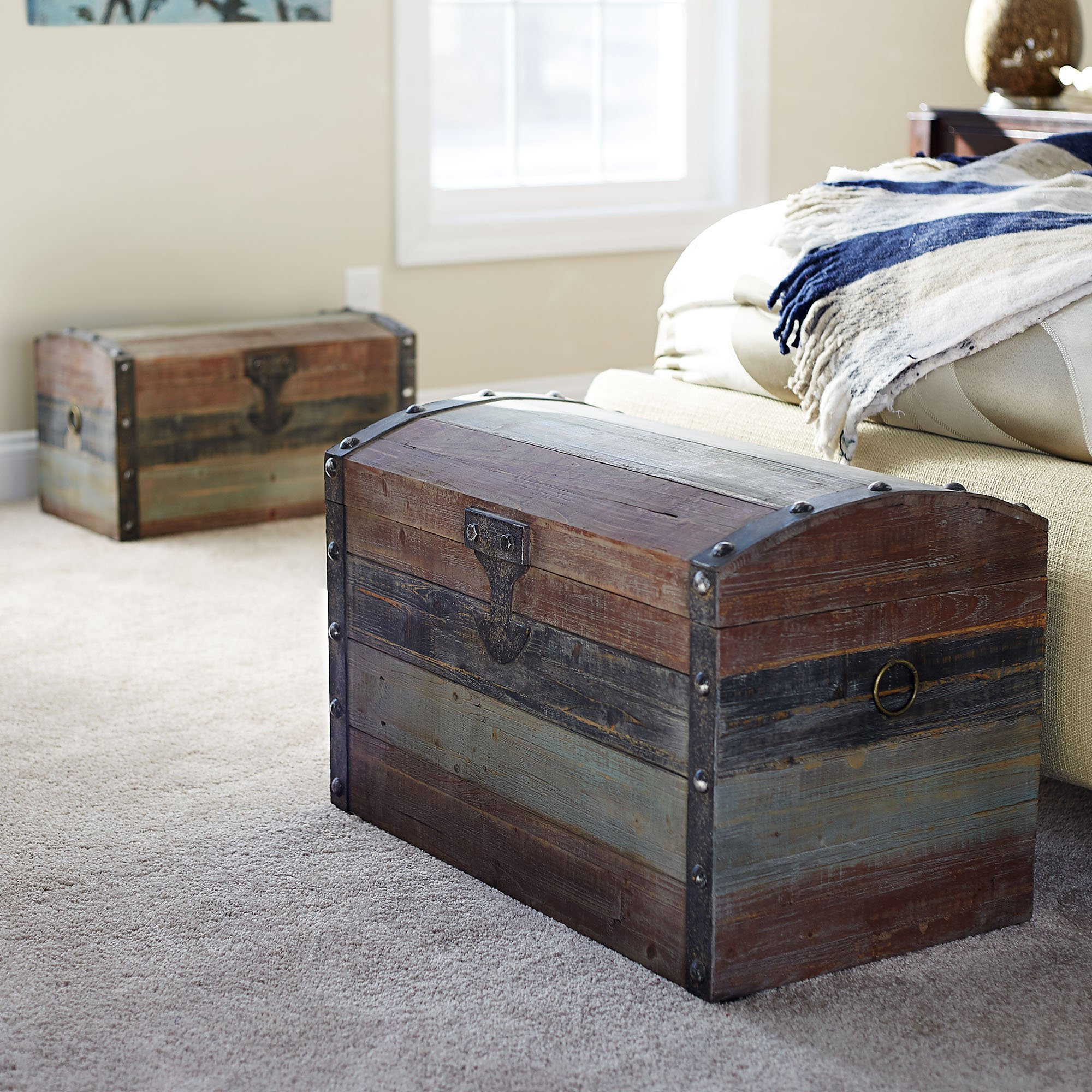 Household Essentials Stripped Weathered Wooden Storage Trunk, Large by Household Essentials (Image #3)