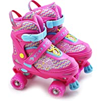 The Magic Toy Shop Kids Adjustable 4 Wheel Quad Roller Skates Boots Childrens Rollers