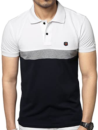 c3aee64754b5 ZEYO Men s Cotton 2-Blocked White   Black Polo Tshirt Half Sleeve. Roll  over image to ...