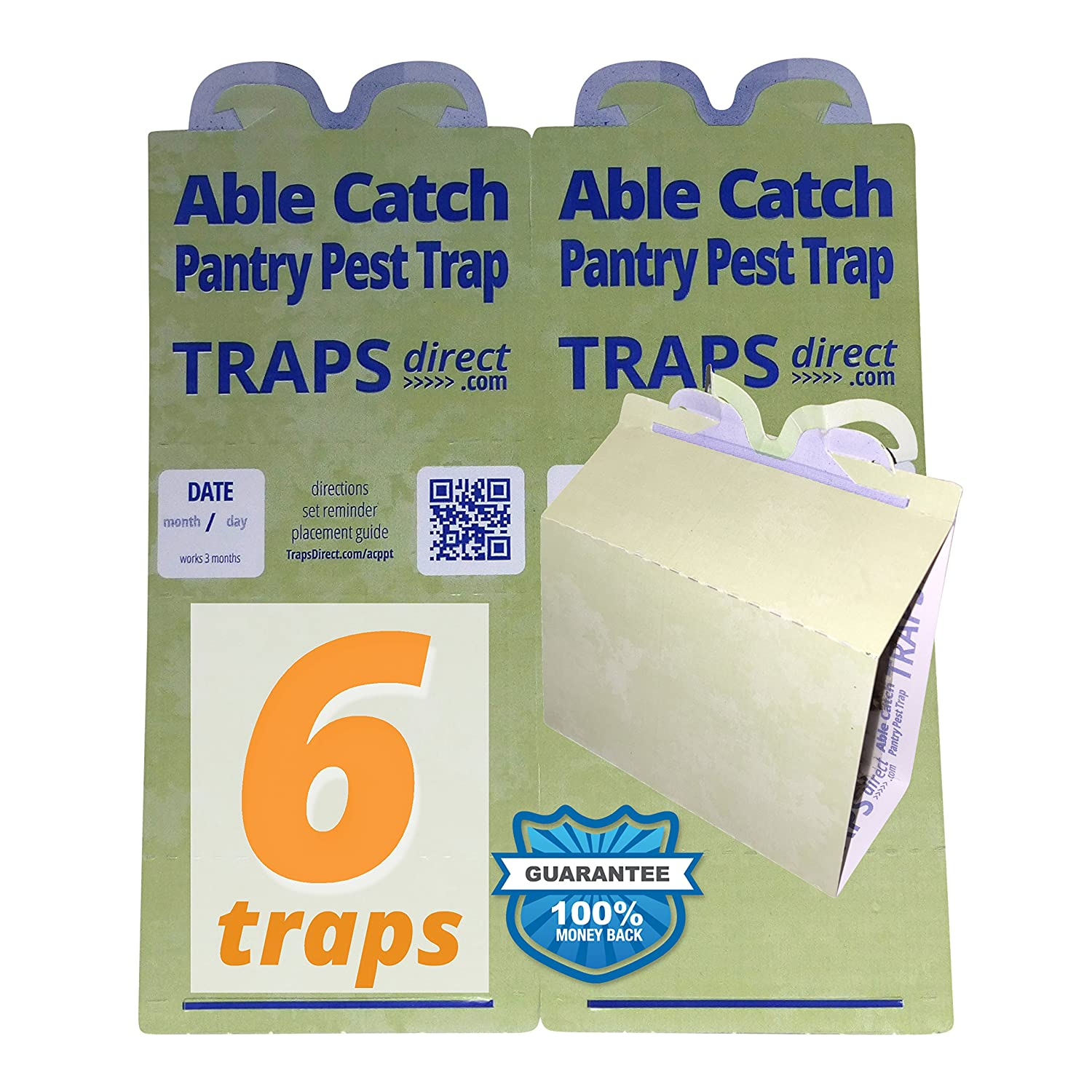Able Catch 6 Pantry Moth Traps | USA Made | Safe Pheromone Lure | Guaranteed Traps Direct ACPPT-6