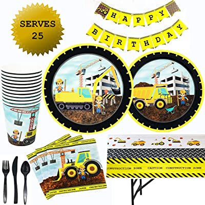 CONSTRUCTION Birthday Party Supplies dump truck and tractor party set Including: Plates, Cups, Napkins, Tablecloth, Banner, Forks, Spoons, Knives. (Serves 25): Toys & Games