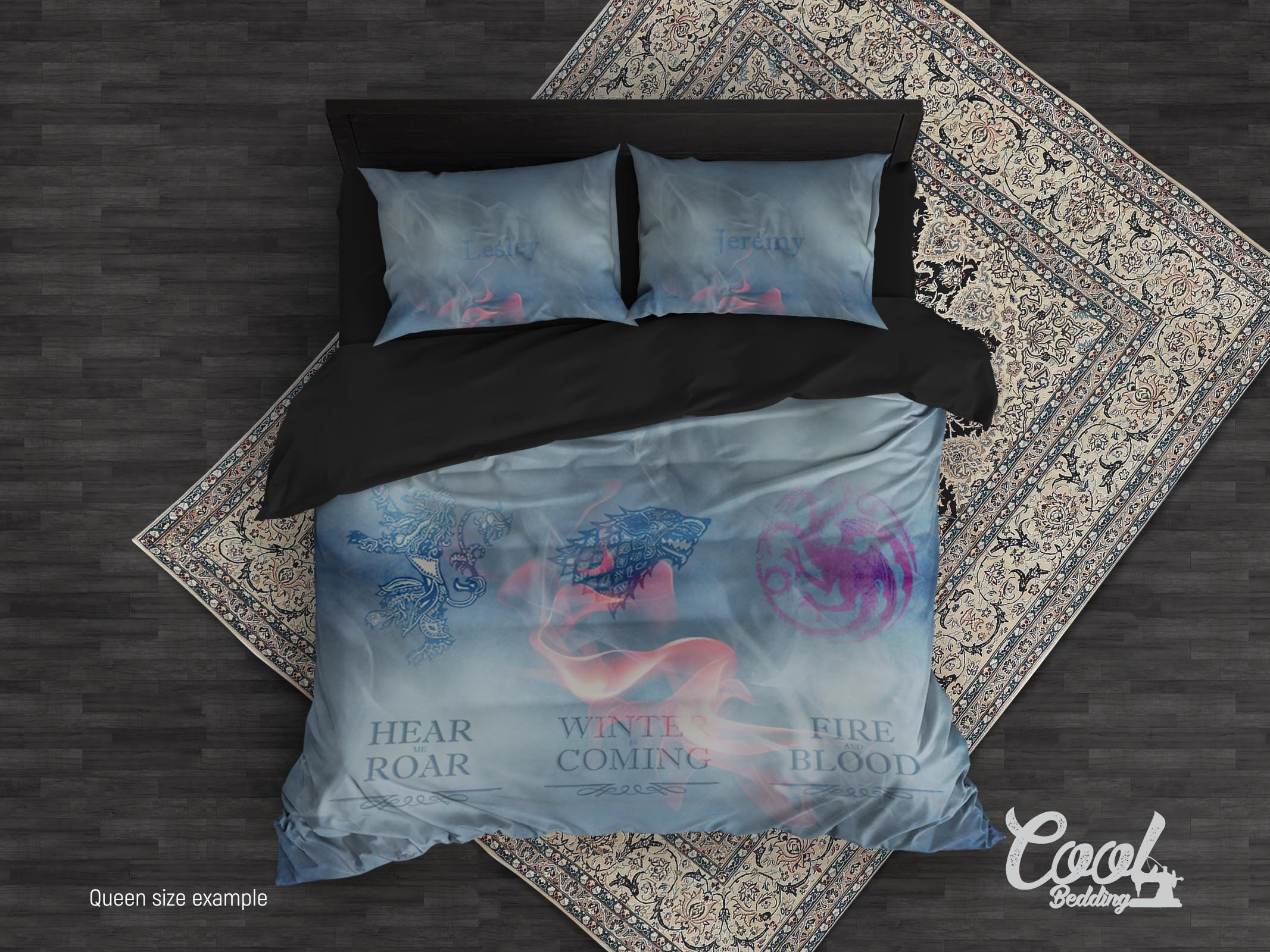 Game of Thrones Custom Personalized Duvet Cover by Cool Bedding, GOT Personalized Bedding set of 3 or 4 Pcs, King Queen Full Single Bedding Set. (Twin Set 68''x87'')
