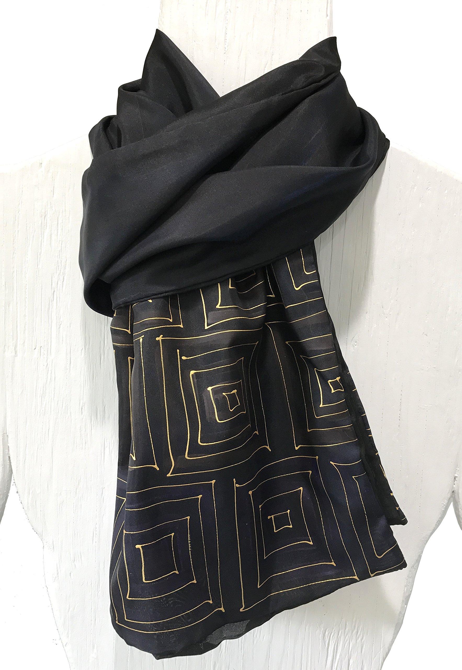 Mens Silk Scarf, Hand Painted Silk Scarf Black Scarf, Gold Zen Maze, Reversible Scarf