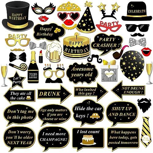 Anniversaire Photo Booth props, Konsait anniversaire Accessoires Photobooth Décorations Masquerade Accessoires sur bâton pour Enfants homme femme Anniversaire Décorations de fête (49pcs)
