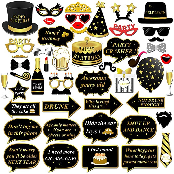 Happy Birthday Party Photo Booth Props with Stick (49Counts) for Her Him Funny Birthday Black and Gold Decorations, Konsait Happy Birthday Party ...