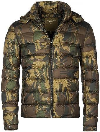 054abf3e35d2 Gefütterte Herren Winterjacke der Marke Young   Rich im Camouflage Look mit  Kapuze, Größe
