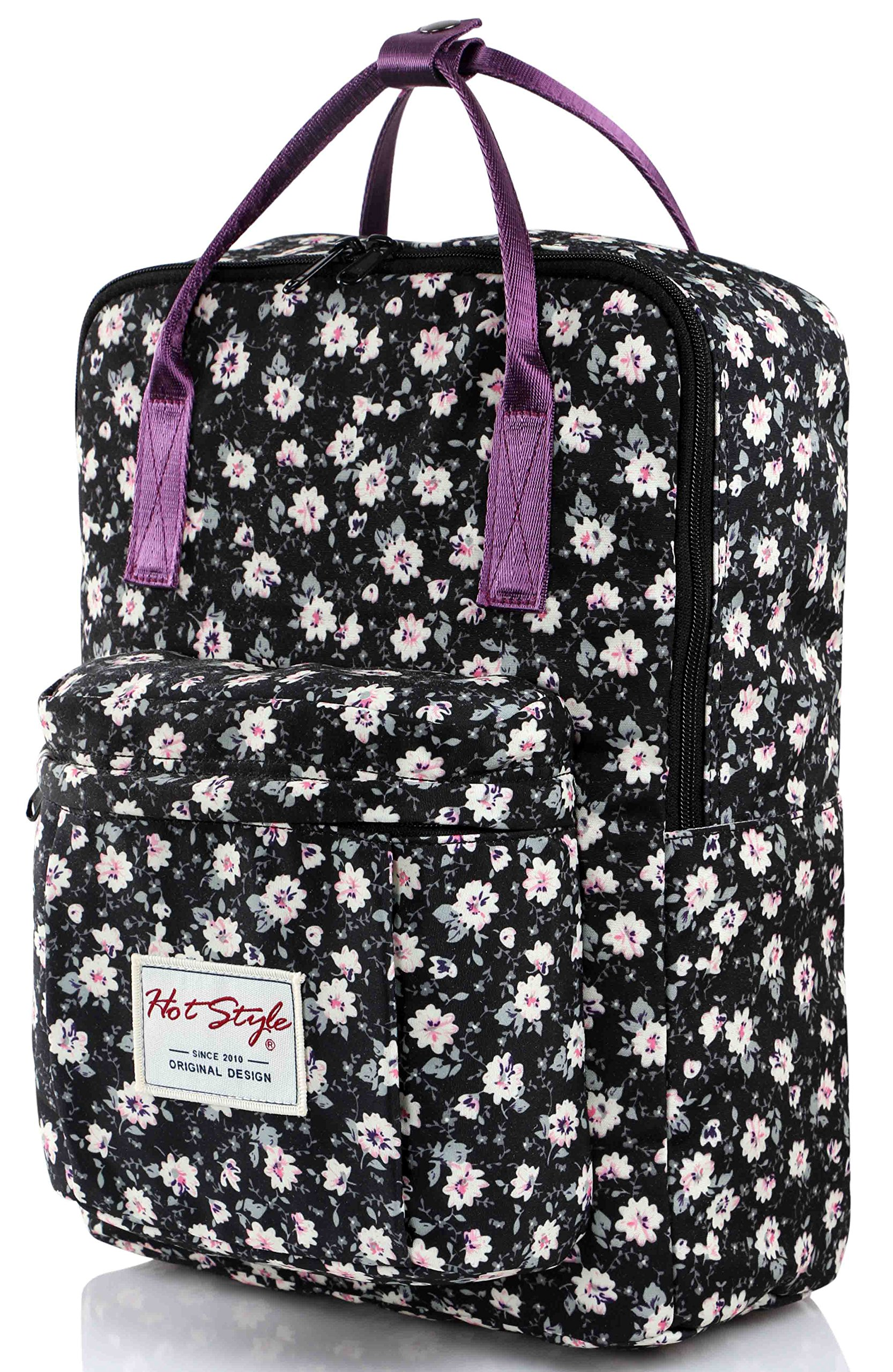 HotStyle Girls Floral Print Handbag Backpack - Waterproof Fits 13 inches Laptop - Black by hotstyle