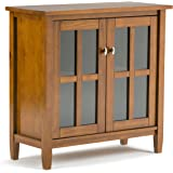 Simpli Home Warm Shaker Solid Wood Low Storage Cabinet, Honey Brown