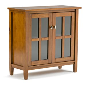 Simpli Home AXWSH009 Warm Shaker Solid Wood Low Storage Cabinet in Honey Brown