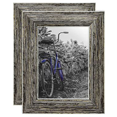 Americanflat 2 Pack - 5x7 Tan Rustic Picture Frames - Built-in Easels - Wall Display - Tabletop Display