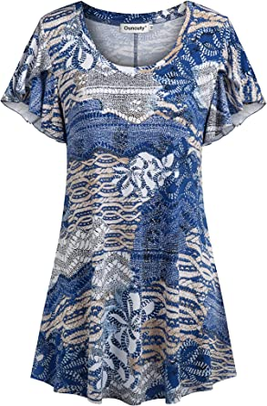 Ouncuty Womens 3//4 Sleeve Shirt Roll Up Casual V Neck Floral Dressy Tunic Blouse
