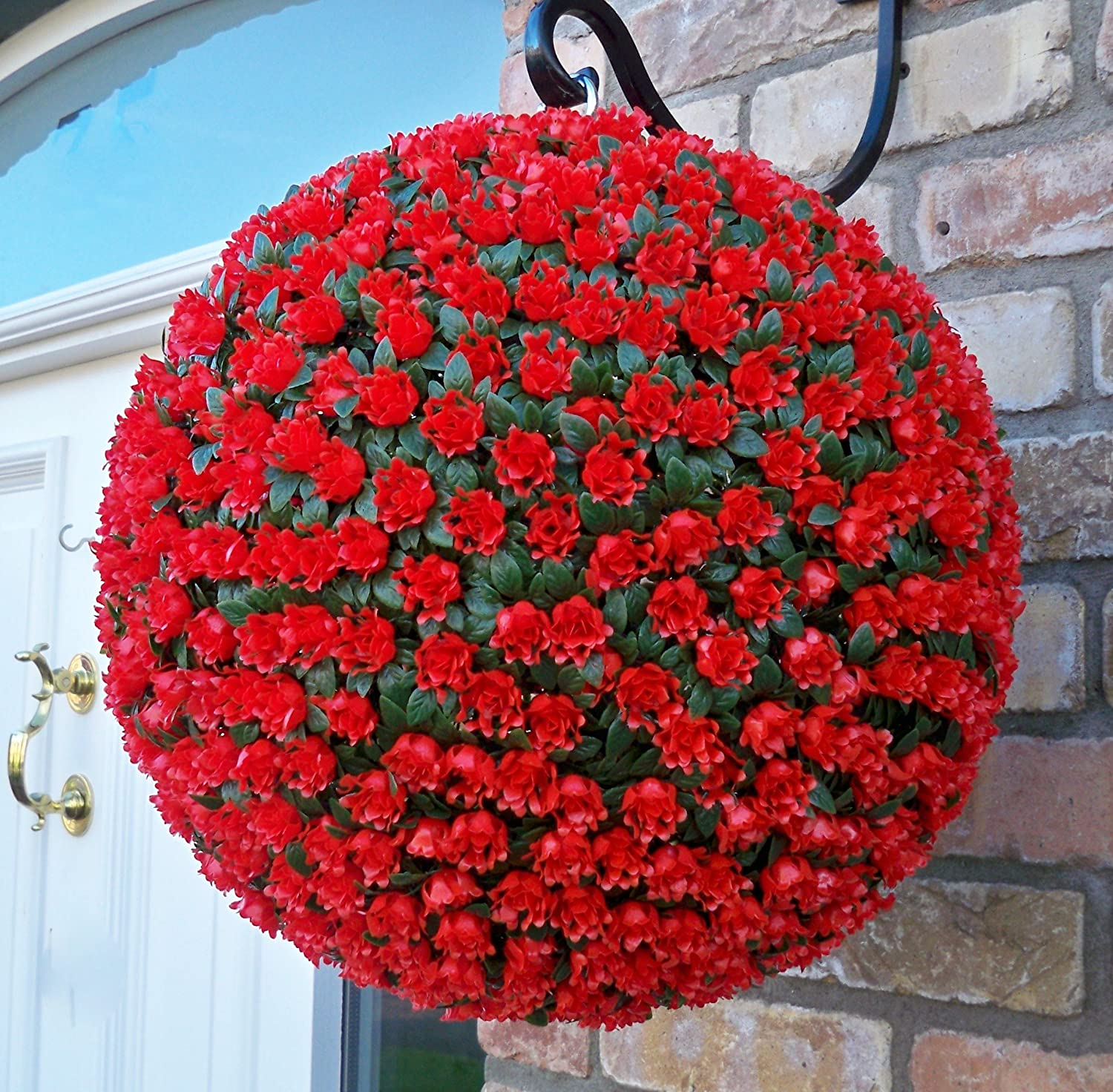 Best Artificial TM 38cm Blue Rose Topiary Hanging Flower Ball **UV Fade Protected**