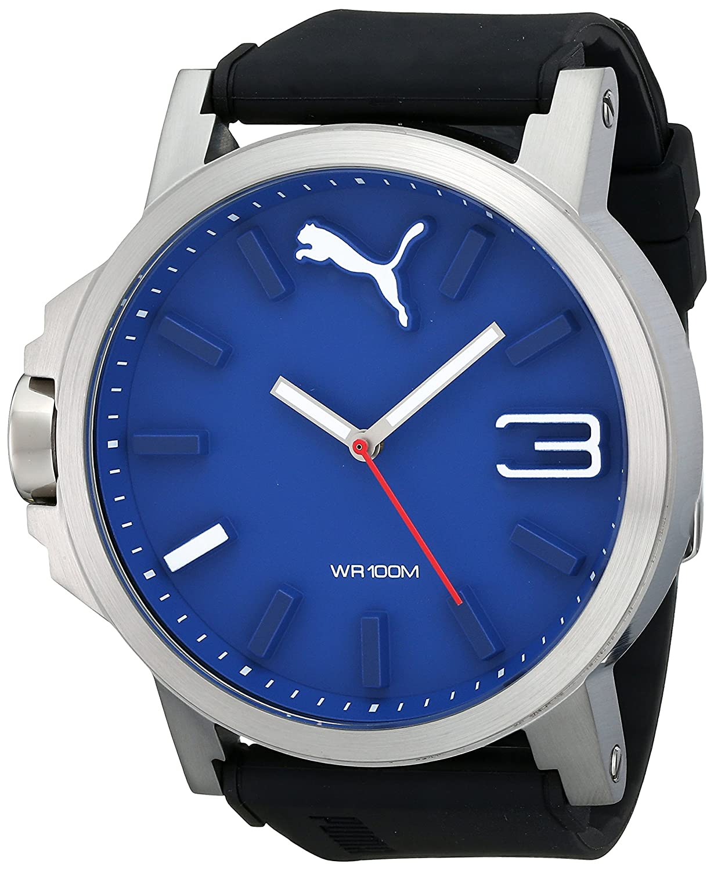 amazon com puma men s pu103461014 ultrasize 50 silver blue analog amazon com puma men s pu103461014 ultrasize 50 silver blue analog display ese quartz black watch puma watches